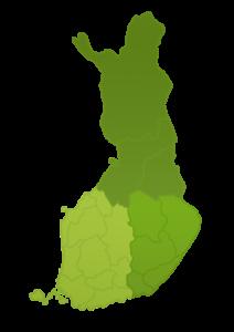 Suomen kartta PEFC-ryhmäsertifiointialuiesta