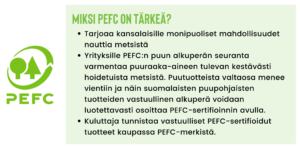2. Miksi PEFC on tärkeä? - tarjoaa kansalaisille monipuoliset mahdollisuudet nauttia metsistä - yrityksille PEFC:n puun alkuperän seuranta varmentaa puuraaka-aineen tulevan kestävästi hoidetuista metsistä. Puutuotteista valtaosa menee vientiin ja näin suomalaisten puupohjaisten tuotteiden vastuullinen alkuperä voidaan luotettavasti osoittaa PEFC-sertifioinnin avulla. - kuluttaja tunnistaa vastuulliset PEFC-sertifioidut tuotteet kaupassa PEFC-merkistä